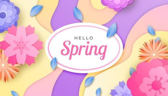 多彩花朵春天背景矢量素材(AI/EPS)