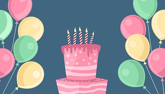 生日蛋糕和气球背景矢量素材(EPS/AI)
