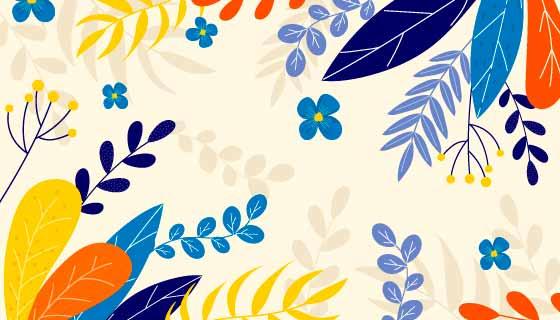 扁平风格多彩花卉春天背景矢量素材(AI/EPS)