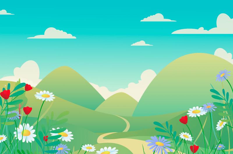 五彩缤纷的春天景色矢量素材(AI/EPS)
