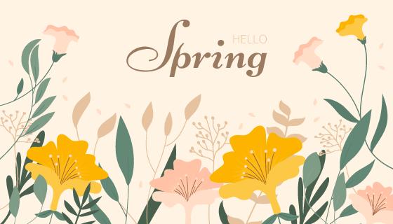 扁平风格漂亮花卉春天背景矢量素材(AI/EPS/PNG)