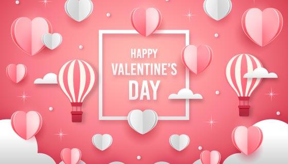 爱心和热气球情人节背景矢量素材(AI/EPS)