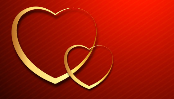 两颗金色爱心情人节banner矢量素材(EPS)