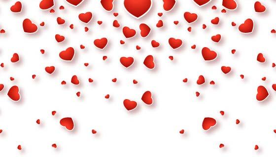 红色爱心情人节贺卡矢量素材(EPS/PNG)