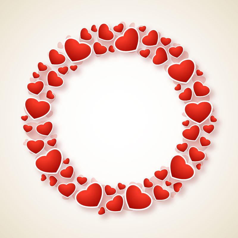创意爱心圆环情人节贺卡矢量素材(EPS/免扣PNG)