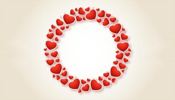 创意爱心圆环情人节贺卡矢量素材(EPS/PNG)