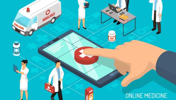 在线医疗概念设计矢量素材(EPS)