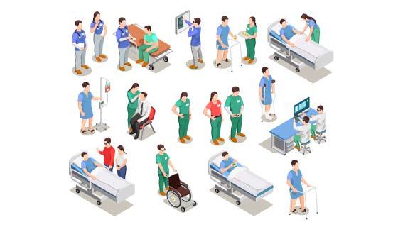 医院工作人员和病人矢量素材(EPS)