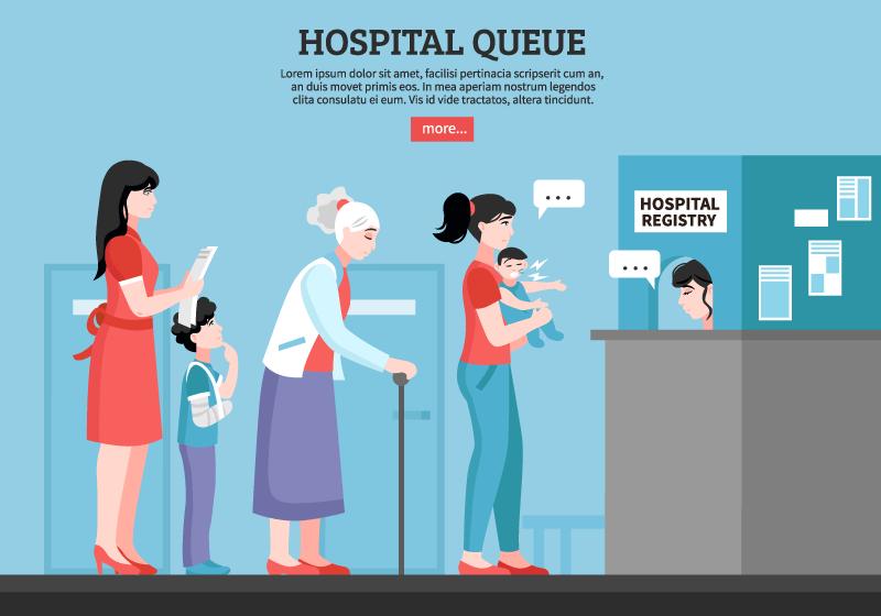 医院排队挂号的人们矢量素材(EPS)