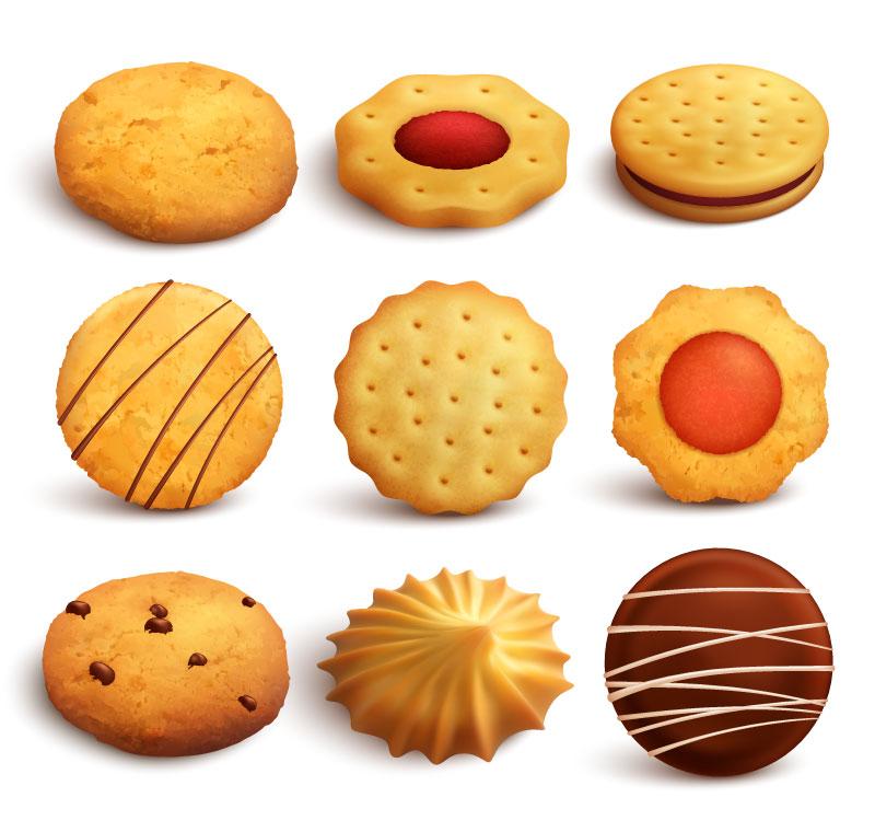逼真美味的曲奇饼干矢量素材(EPS/免扣PNG)