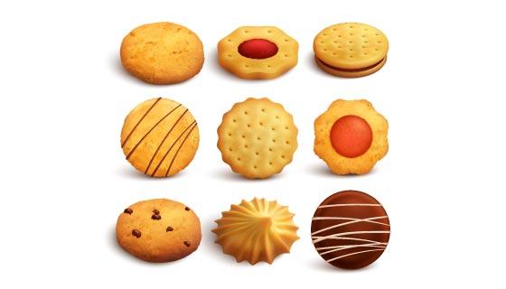 逼真美味的曲奇饼干矢量素材(EPS/PNG)