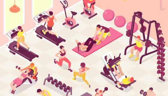 健身房和正在健身的人们矢量素材(EPS)