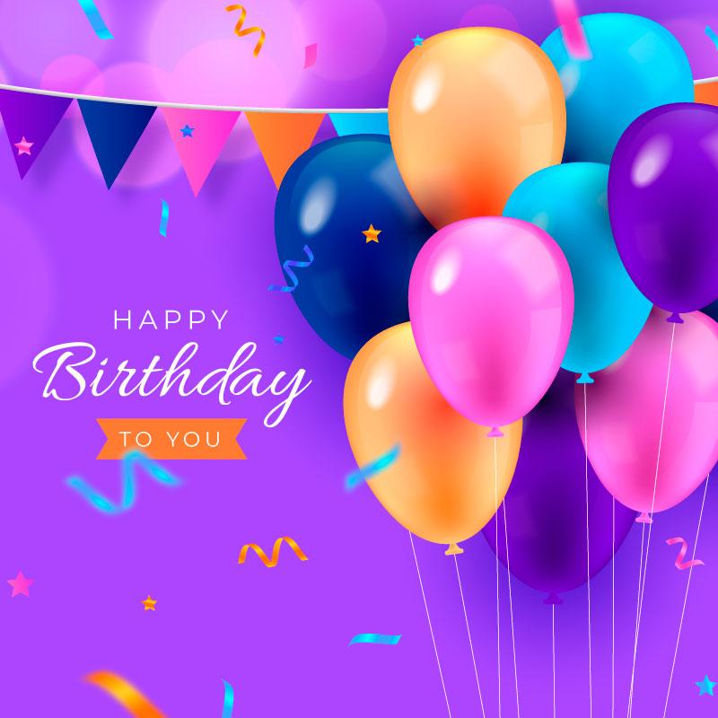 气球和彩带生日快乐背景矢量素材(AI/EPS)