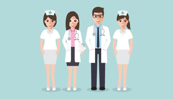 扁平风格设计医疗团队矢量素材(EPS/PNG)