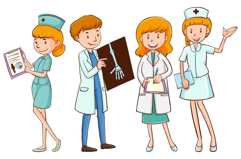 手绘风格医生和护士矢量素材(EPS/免扣PNG)