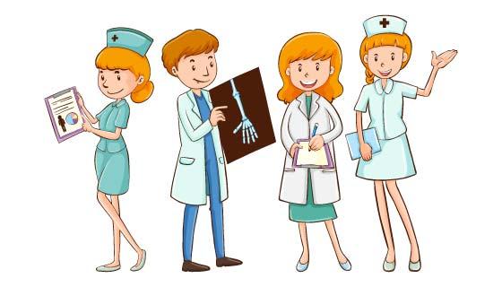 手绘风格医生和护士矢量素材(EPS/PNG)