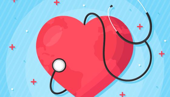 扁平风格心脏和听诊器矢量素材(AI/EPS)