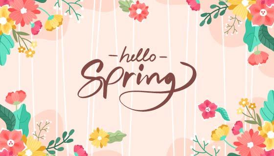 多彩花卉春天背景矢量素材(AI/EPS)