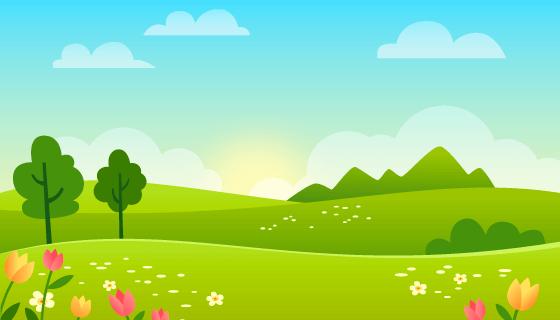 清爽的春天景色矢量素材(AI/EPS)