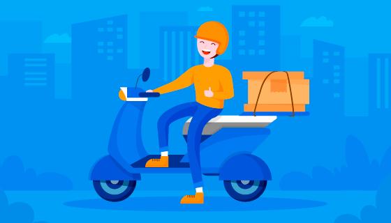 骑摩托车的快递员矢量素材(AI/EPS)