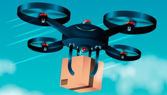无人机送货矢量素材(AI/EPS)