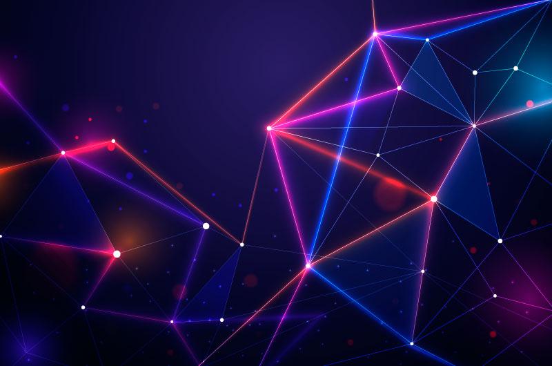 粒子和线条抽象科技背景矢量素材(AI/EPS)