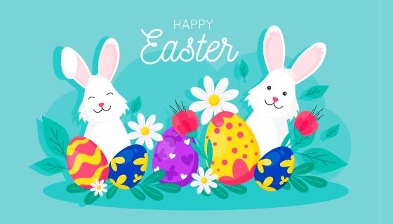 兔子彩蛋花朵复活节设计矢量素材(AI/EPS)
