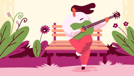弹吉他的女子春天背景矢量素材(AI/EPS)