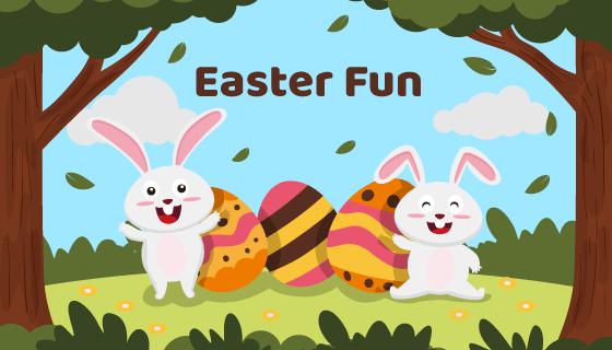 兔子和彩蛋复活节矢量素材(AI/EPS)