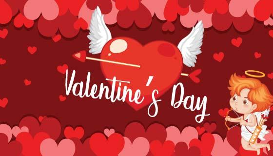 丘比特和爱心情人节矢量素材(EPS)