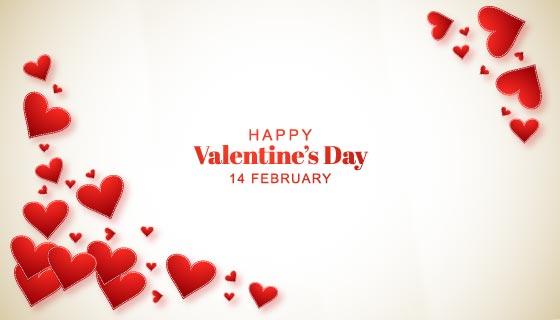 漂亮红色爱心情人节背景矢量素材(EPS)