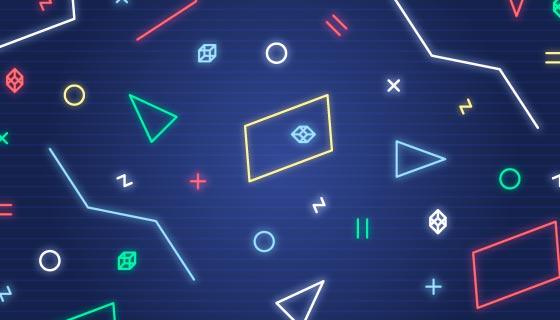 霓虹灯几何图形背景矢量素材(AI/EPS)