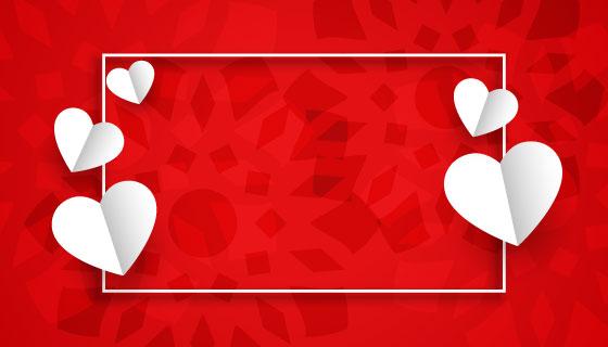 白色剪纸爱心情人节背景矢量素材(EPS)