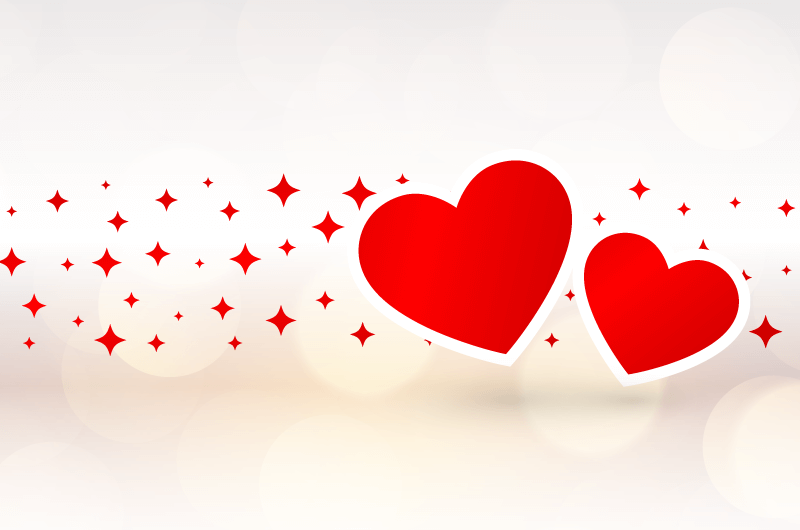 两颗靠在一起的爱心情人节背景矢量素材(EPS)