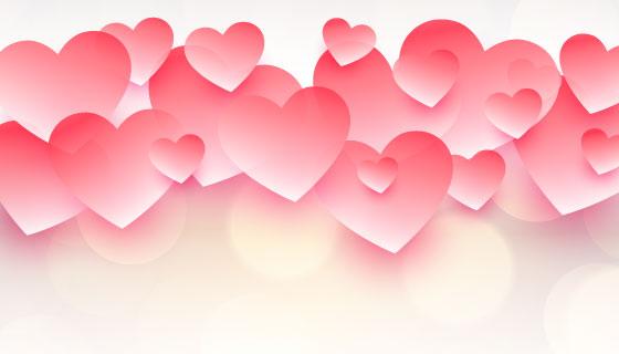 漂亮粉色爱心情人节背景矢量素材(EPS)