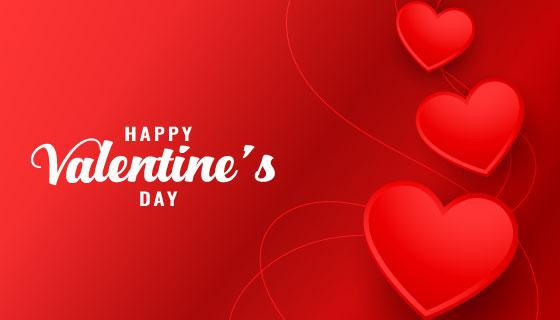 红色爱心设计情人节卡片矢量素材(EPS)