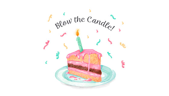 水彩生日蛋糕和蜡烛矢量素材(EPS/AI)
