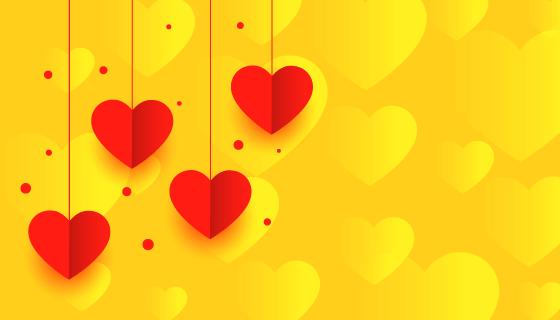 红色爱心黄色情人节背景矢量素材(EPS)