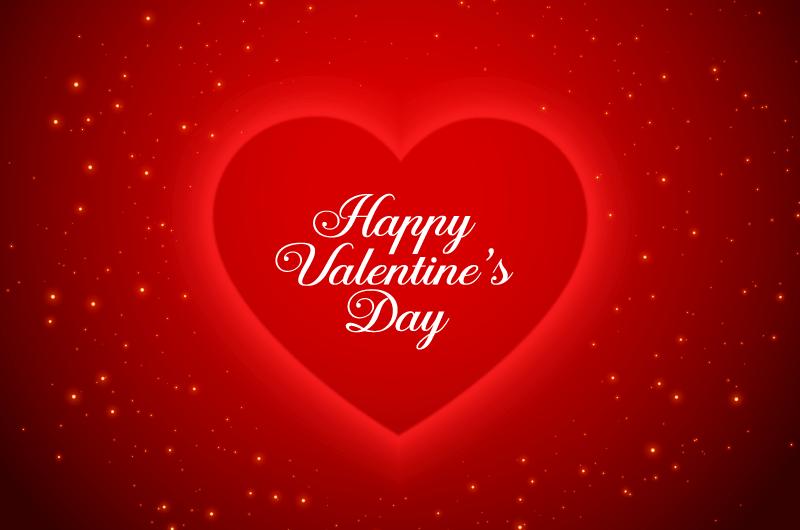 红色闪亮爱心情人节卡片矢量素材(EPS)