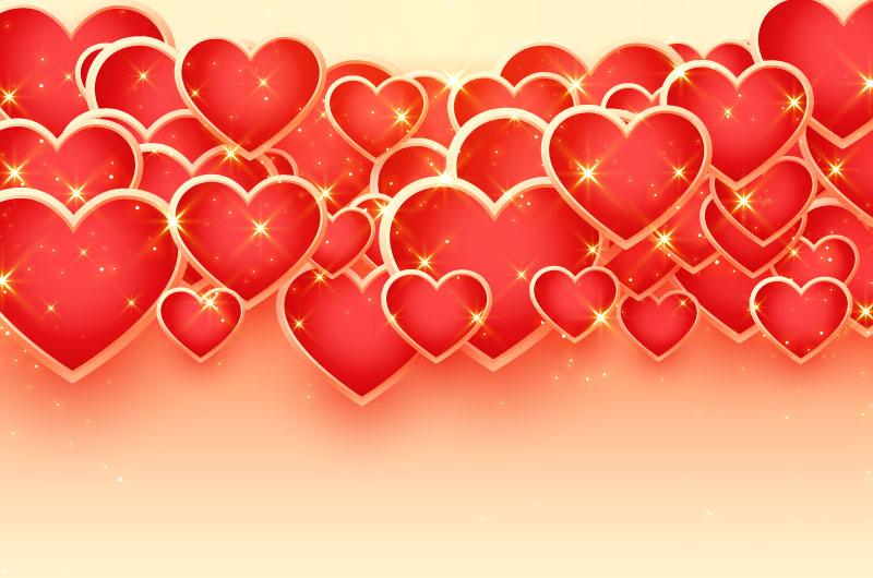 红色闪亮爱心情人节背景矢量素材(EPS)