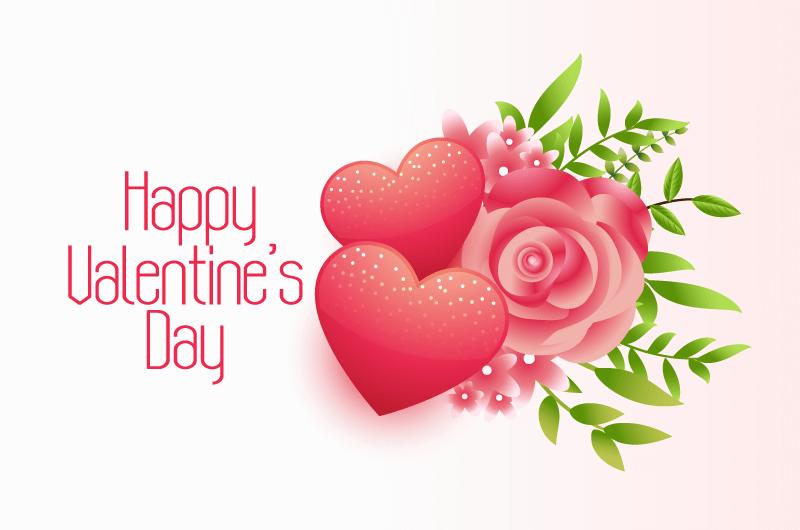 鲜花和爱心情人节卡片矢量素材(EPS)