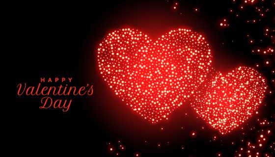 闪烁红点爱心情人节卡片矢量素材(EPS)