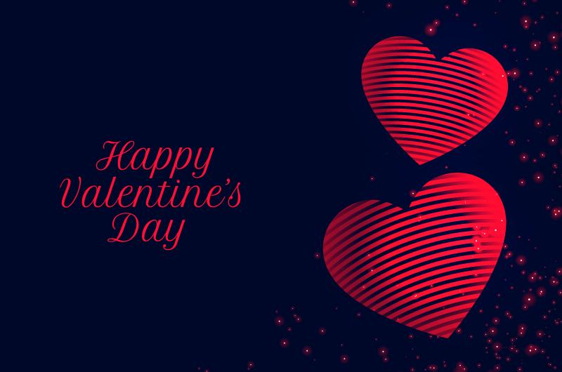 红色条纹爱心情人节快乐卡片矢量素材(EPS)
