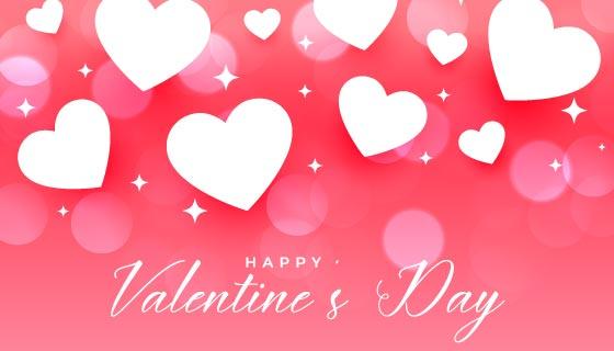 爱心和星星粉色情人节快乐卡片矢量素材(EPS)