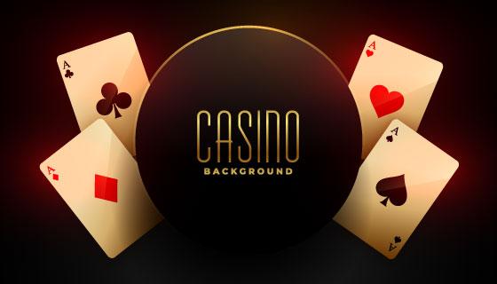四张A扑克牌赌场背景矢量素材(EPS)