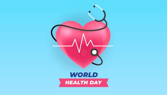 心脏和听诊器设计世界健康日矢量素材(AI/EPS)