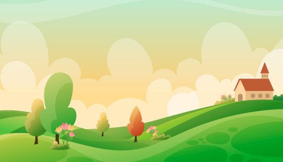 春意盎然的春天景色矢量素材(AI/EPS)