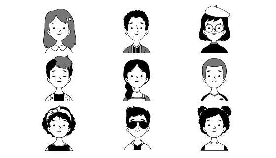 黑白风格人物头像矢量素材(AI/EPS/PNG)
