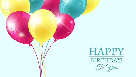五颜六色的气球生日背景矢量素材(EPS/AI)