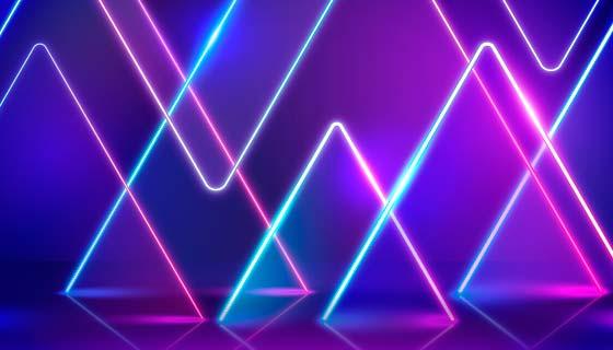几何图形霓虹灯背景矢量素材(AI/EPS)